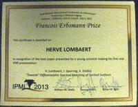 Dr. Hervé Lombaert receives Francois Erbsmann Prize at IPMI